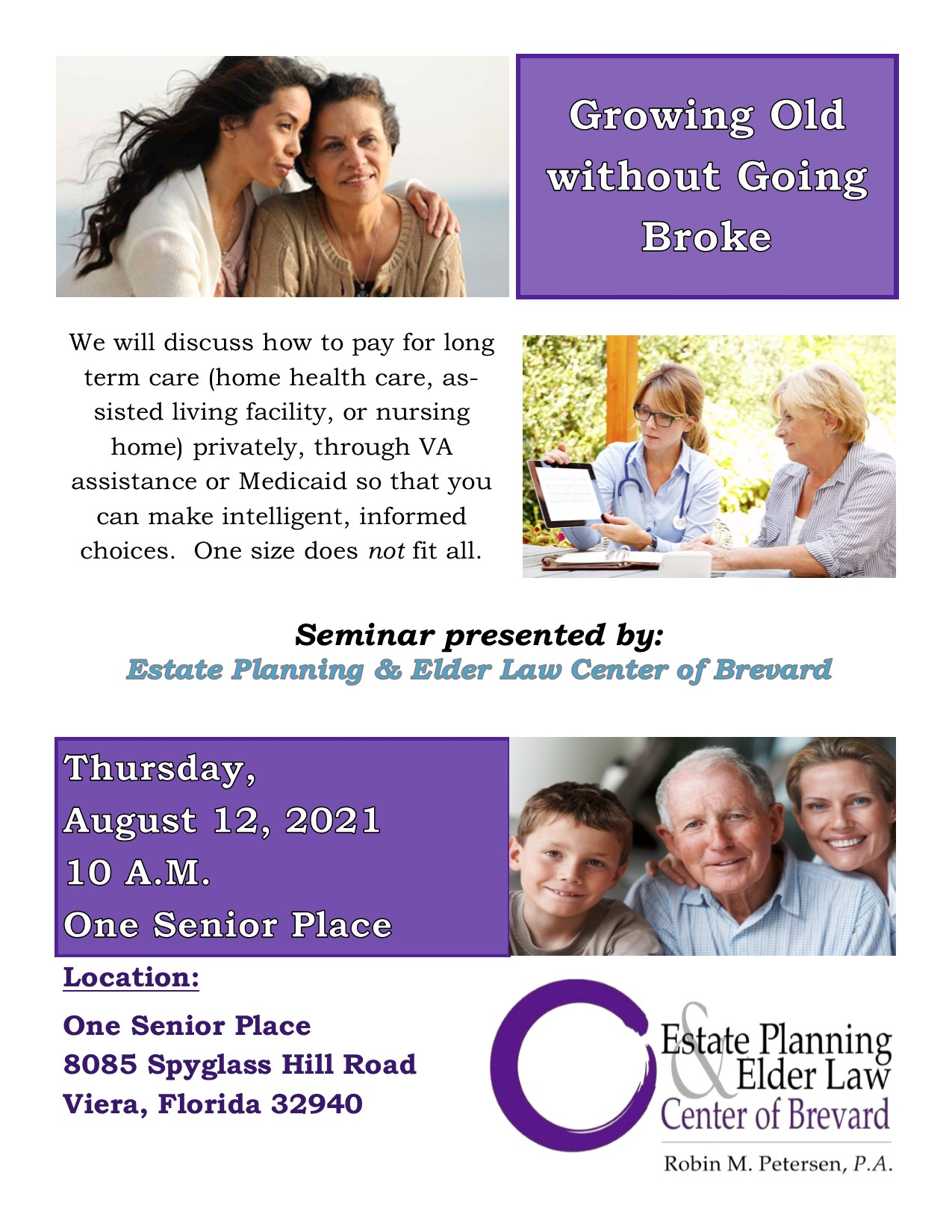 Growing Old without Going Broke presented by Estate Planning and Elder Law Center of Brevard