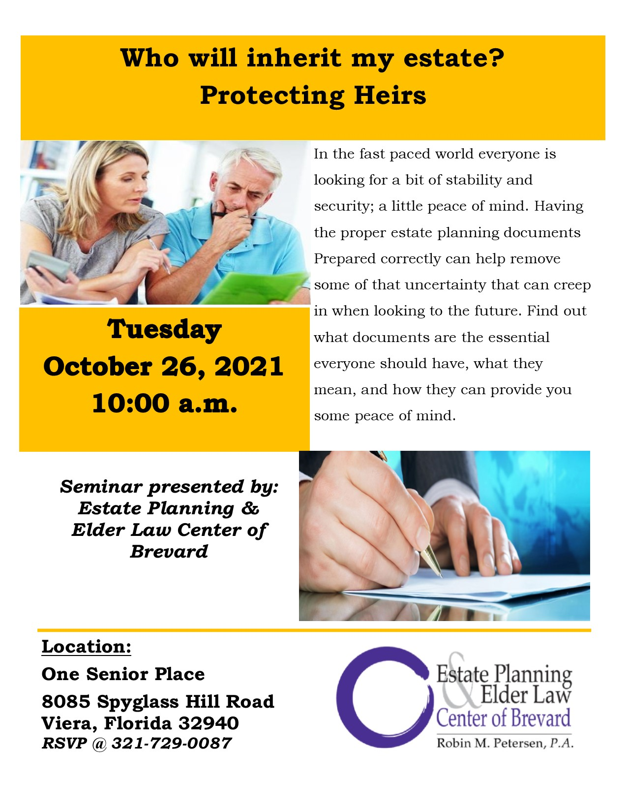 Who will inherit my estate? Protecting Heirs presented by Estate Planning and Elder Law Center of Brevard