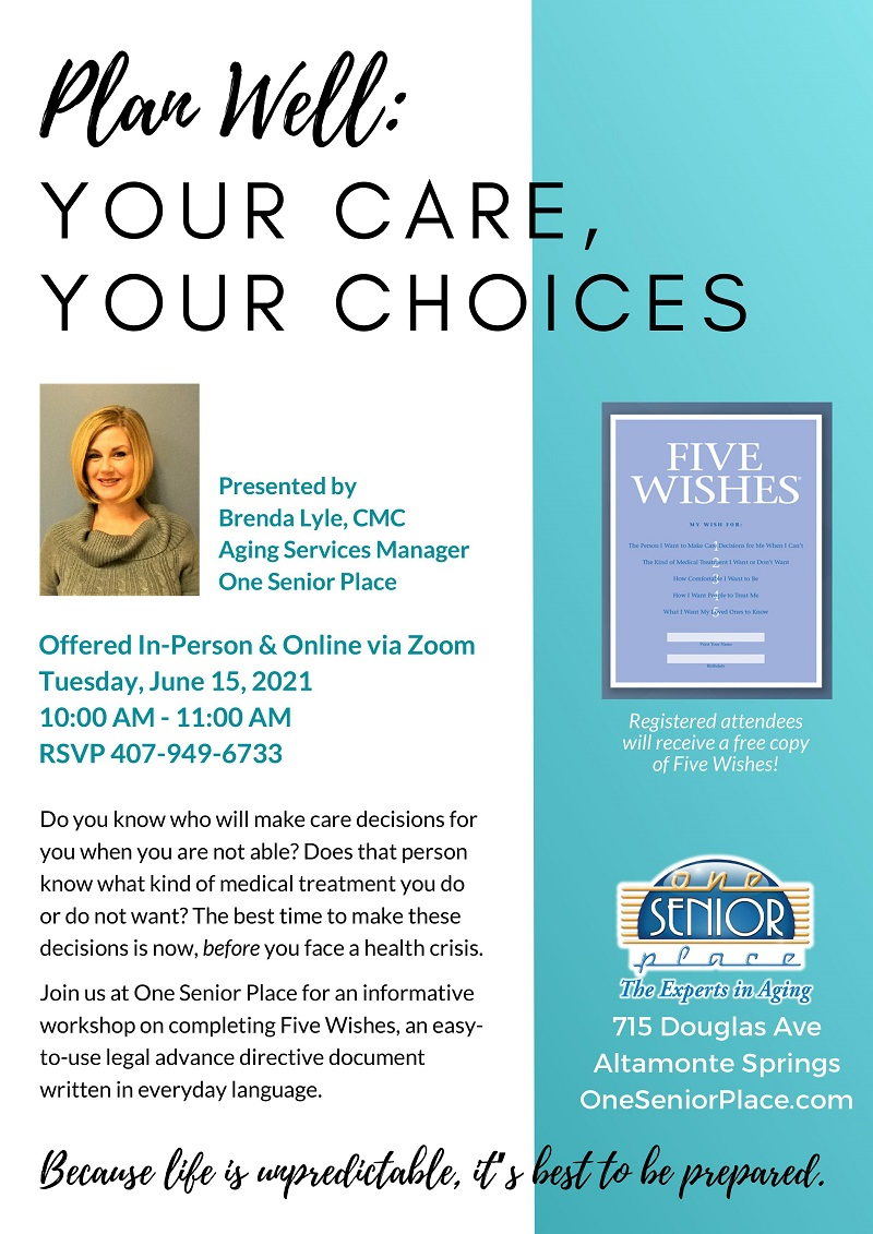 VIRTUAL & IN-PERSON: Five Wishes: Your Care, Your Choices