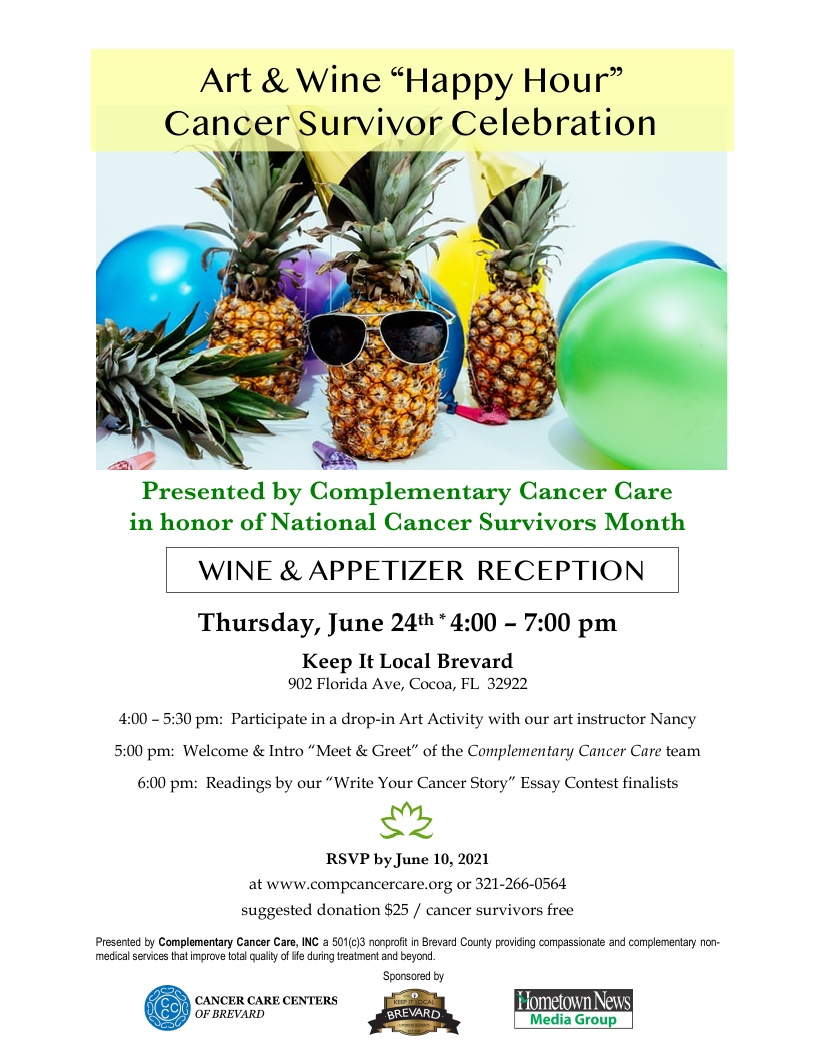 """Art & Wine """"Happy Hour"""" Cancer Survivor Celebration presented by Complementary Cancer Care"""