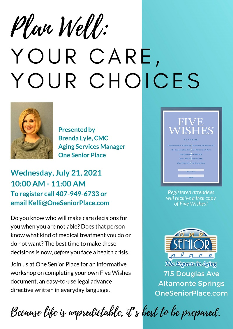 IN-PERSON: Your Care, Your Choices - a Five Wishes Workshop